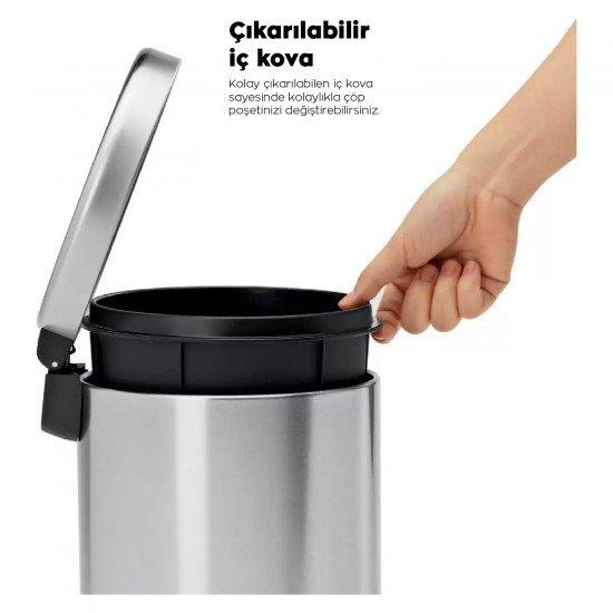 Cleanox Renkli Paslanmaz Pedallı Çöp Kovası Mint 5 Lt