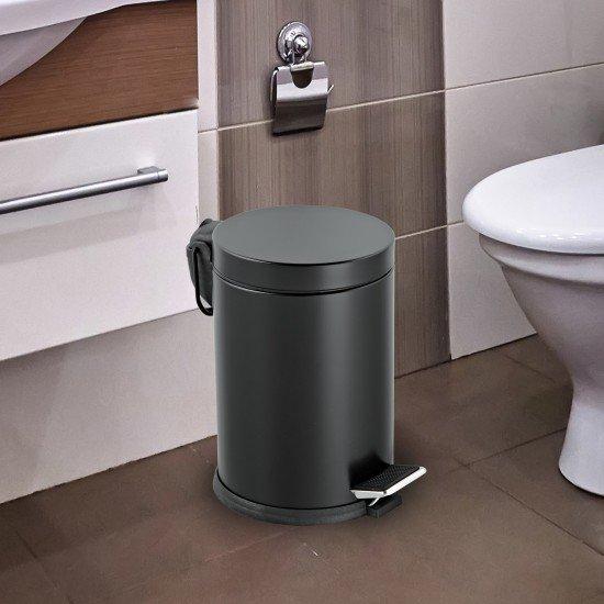 Cleanox Renkli Paslanmaz Pedallı Çöp Kovası Siyah 5 Lt