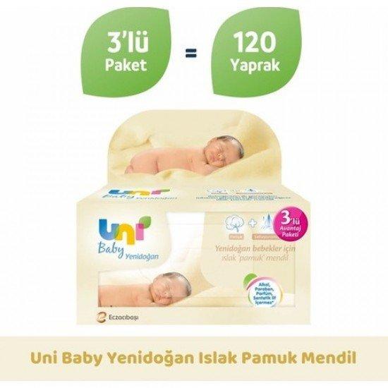 Uni Baby Yenidoğan Islak Pamuk Mendil 3lü 120 Yaprak