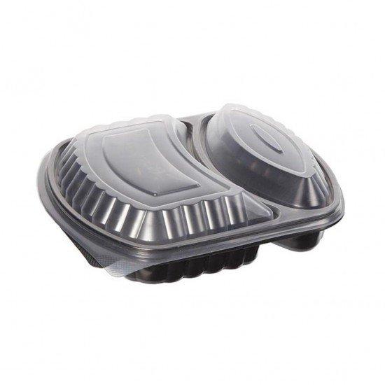 2 Bölmeli Kapaklı Gıda Kabı Mikrodalga Fırına Uygun 10 Adet