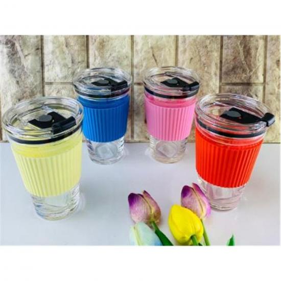Arow Tıpalı Kapak Cam Meşrubat Bardağı Renkli