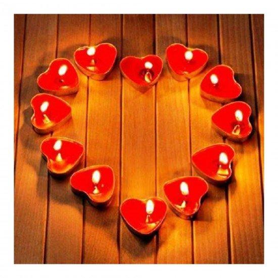 Mum Tealight Kırmızı Kalp 50li