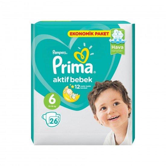 Prima Bebek Bezi Aktif Bebek 6 Beden 26 Adet Ekstra Large Ekonomik Paket