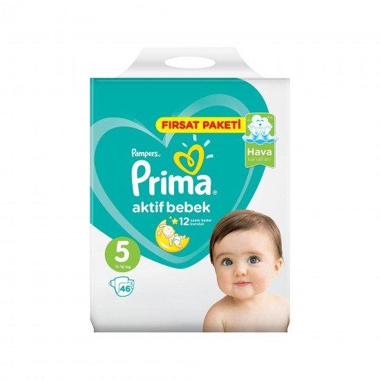 Prima Bebek Bezi Aktif Bebek 5 Beden 46 Adet Junior Fırsat Paketi