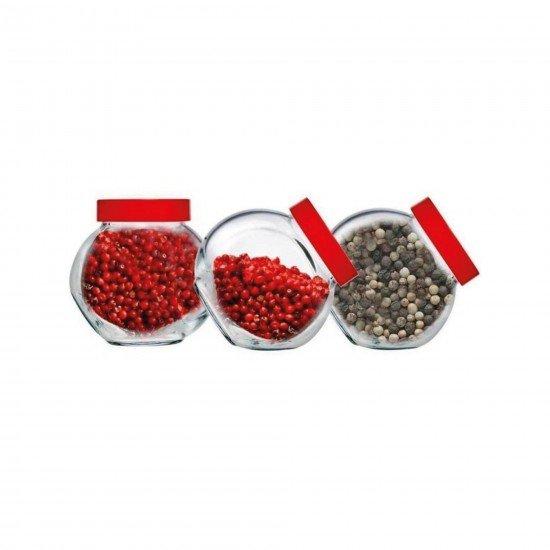 Paşabahçe 80386 Bella Kırmızı Kapaklı Baharatlık 200 CC 3Lü
