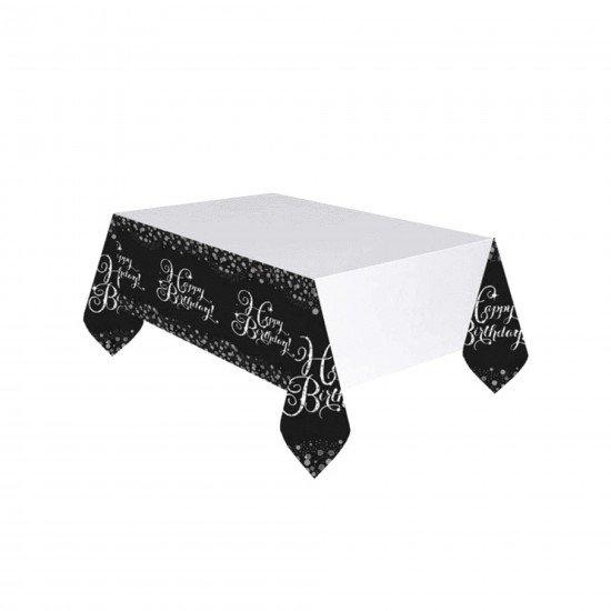 Roll-Up Happy Birthday Siyah Gold Masa Örtüsü Plastik