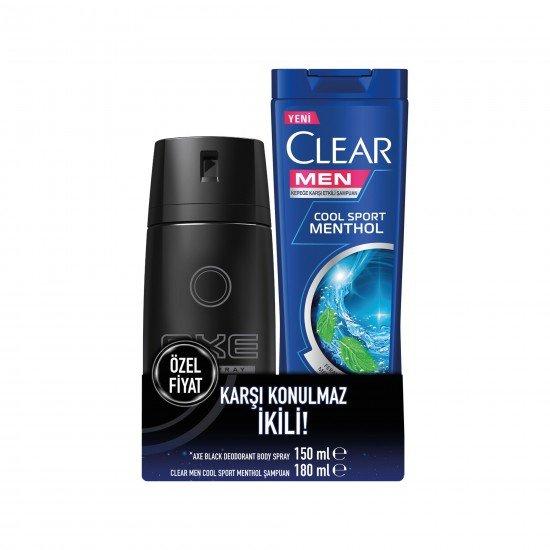 Axe Black Erkek Deodorant Sprey 150 Ml + Clear Men Şampuan Cool Sport 180 Ml