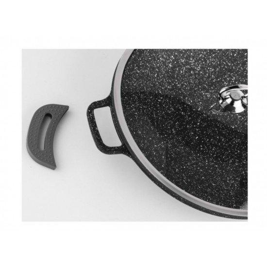 Acar Granit Döküm Cam Kapaklı Saç Kavurma Tavası 35 Cm