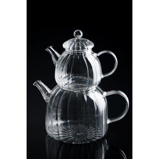 Acar Milly Çizgili Cam Çaydanlık - 2100 Ml