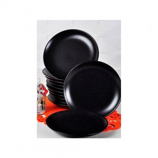 Acar Seramik Mat Siyah Yemek Tabağı 19 Cm