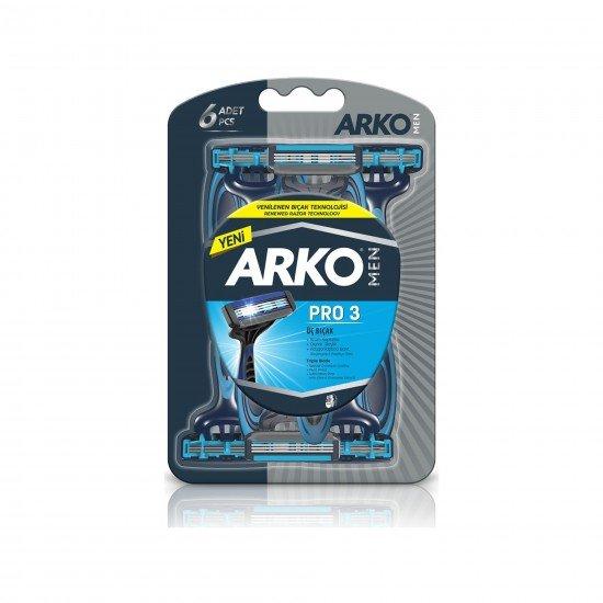 Arko Men Pro 3 Bıçaklı Tıraş Bıçağı 6 Lı