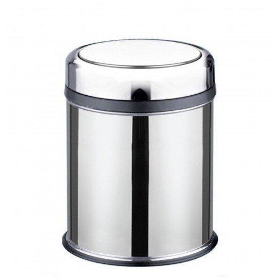 Cleanox Pratik Kapaklı Paslanmaz Çöp Kovası 45 Lt - Krom