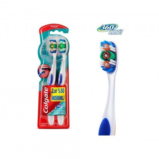 Colgate 360 Komple Ağız Temizliği Diş Fırçası Yumuşak 1+1