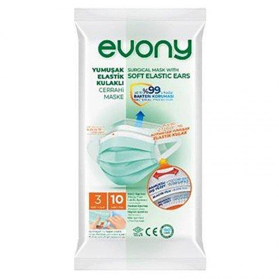 Evony Elastik Maske 3 Katlı Telli Full Ultrasonik 10lu