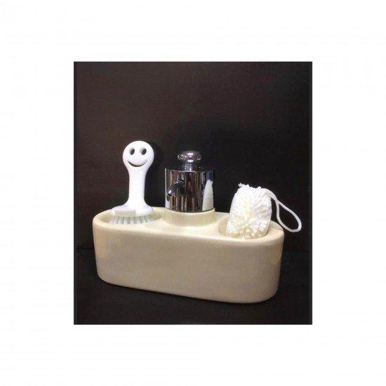 Fame Kitchen Sıvı Sabunluk Takımı Gülen Yüz Gri Renk