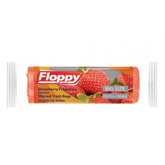 Floopy Büzgülü Çöp Torbası Çilek Kokulu 65x70 10lu