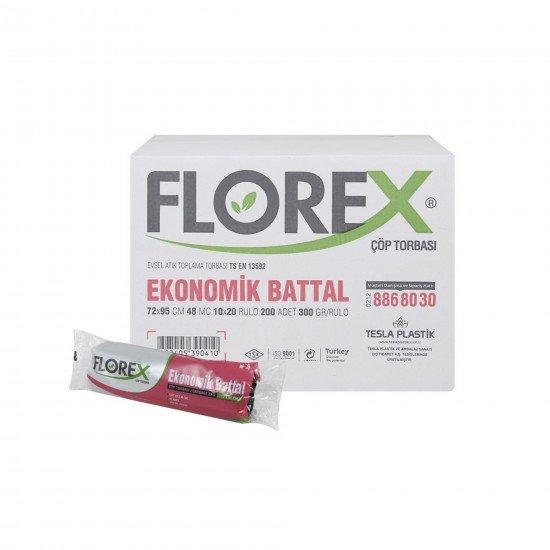 Florex Ekonomik Battal Çöp Torbası Siyah 10 Adet 72 X 95 Cm 1 Koli 20 Rulo
