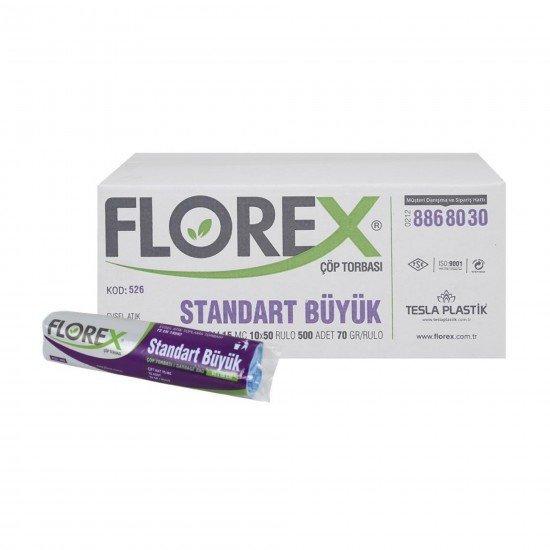 Florex Standart Büyük Boy Çöp Torbası Siyah  10 Adet 65 X 80 Cm 1 Koli 50 Rulo