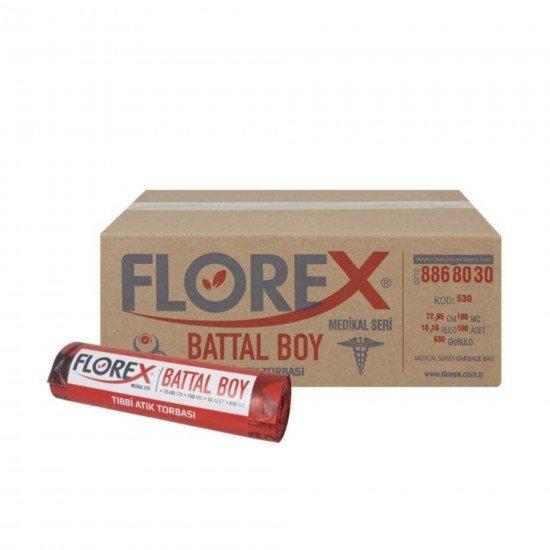 Florex Tıbbı Atık Baskılı Battal Boy Çöp Torbası 10 Adet 72 X 95 Cm 1 Koli 10 Rulo