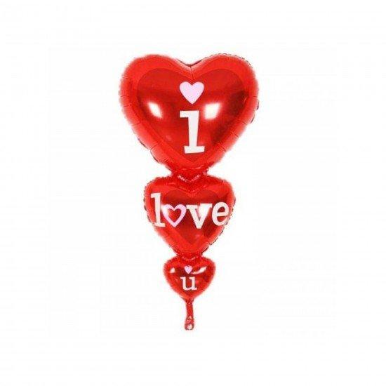 Folyo Balon 3Lü Kalp I Love You 45X86 Cm