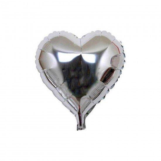 Folyo Balon Kalp Büyük Gümüş 24 İnc 40 Cm
