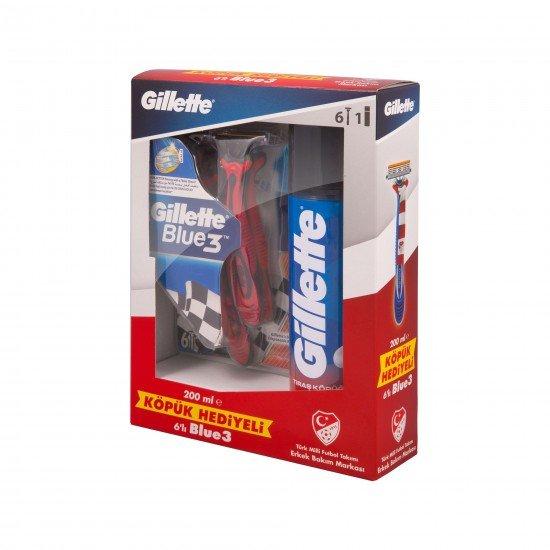 Gillette Blue3 Milli Takım Özel Paketi 6lı Tıraş Bıçağı + 200 ML Tıraş Köpüğü