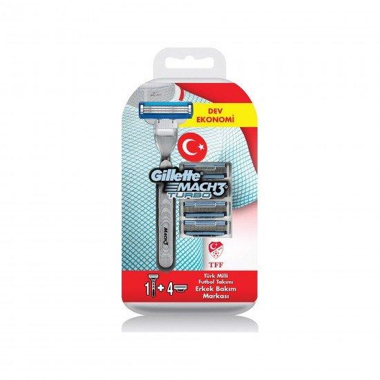 Gillette Mach3 Turbo Milli Takım Özel Paketi Tıraş Makinesi + 4 LÜ Tıraş Bıçağı