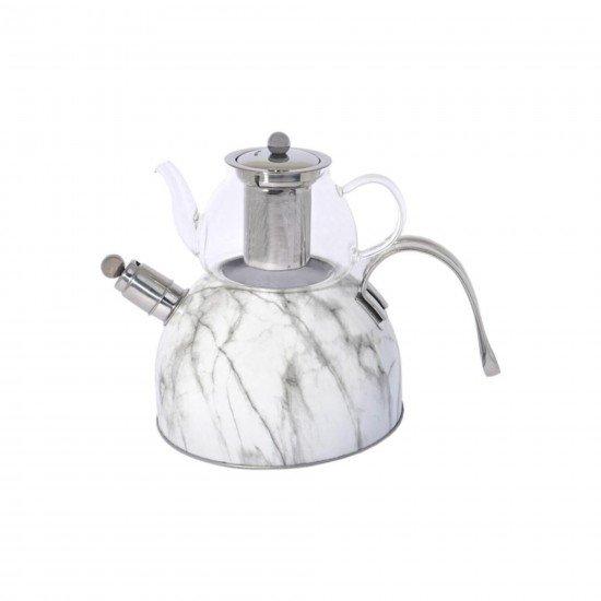 Gönül Mermer Desenli Düdüklü Çaydanlık Takımı