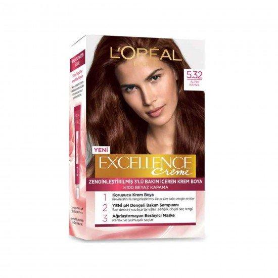 Loreal Paris Excellence Creme Saç Boyası 5.32 Altın Kahve