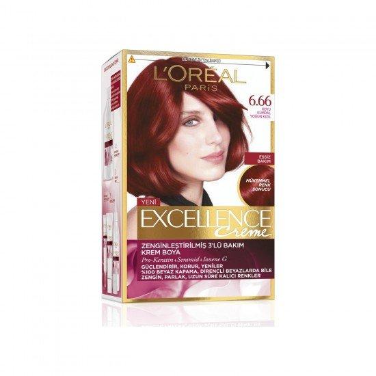 Loreal Paris Excellence Creme Saç Boyası 6.66 Koyu Kumral Yoğun Kızıl