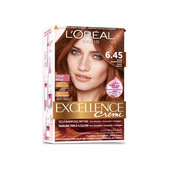 Loreal Paris Excellence Saç Boyası 6.45 Sıcak Bakır Kahve