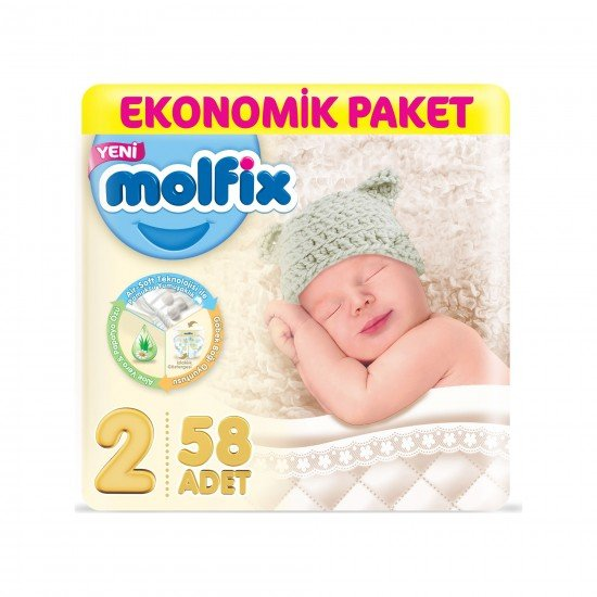 Molfix Bebek Bezi 2 Beden Mini Ekonomik Paket 58li