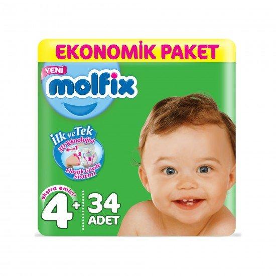 Molfix Bebek Bezi 4+ Beden Maxi Plus Ekonomik Paket 34lü