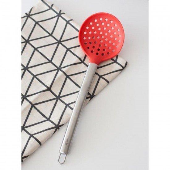 Narin Çelik Saplı Silikon Kevgir Kırmızı