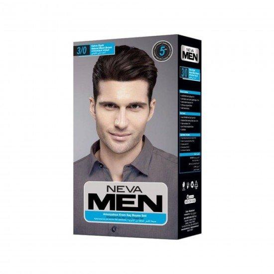 Neva Men Amonyaksız Krem Saç Boyası Seti 3/0 Kahve Siyah