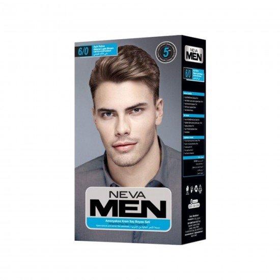 Neva Men Amonyaksız Krem Saç Boyası Seti 6/0 Açık Kahve