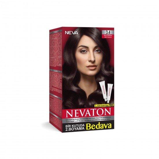 Nevaton Set Saç Boyası 3.4 Koyu Kestane