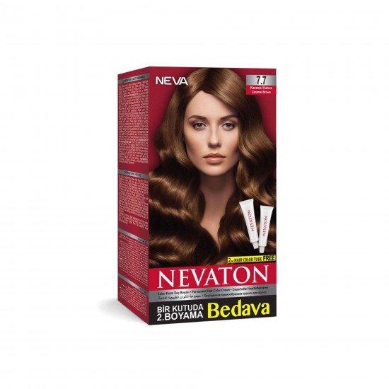Nevaton Set Saç Boyası 7.7 Karamel Kahve