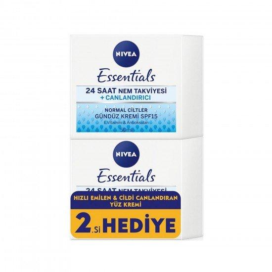 Nivea Essentials 24 Saat Nem Takviyesi Canlandırıcı Gündüz Kremi 2li Set