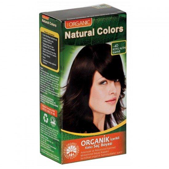 Organic Natural Colors 4D Koyu Altın Kahve Saç Boyası