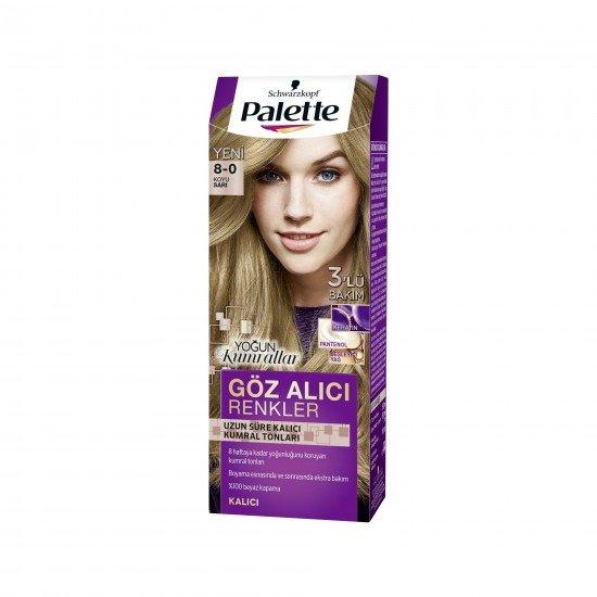 Palette Göz Alıcı Renkler Saç Boyası 8-0 Koyu Sarı