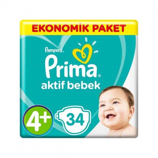 Prima Bebek Bezi Aktif Bebek 4+ Beden 34 Adet Maxi Plus Ekonomik Paket