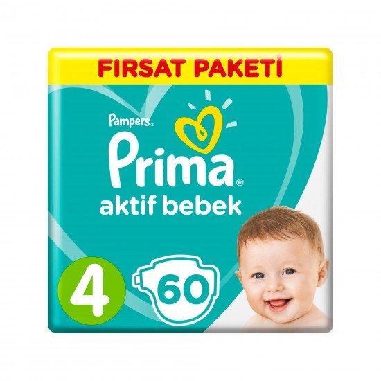 Prima Bebek Bezi Aktif Bebek 4 Beden 60 Adet Maxi Fırsat Paketi