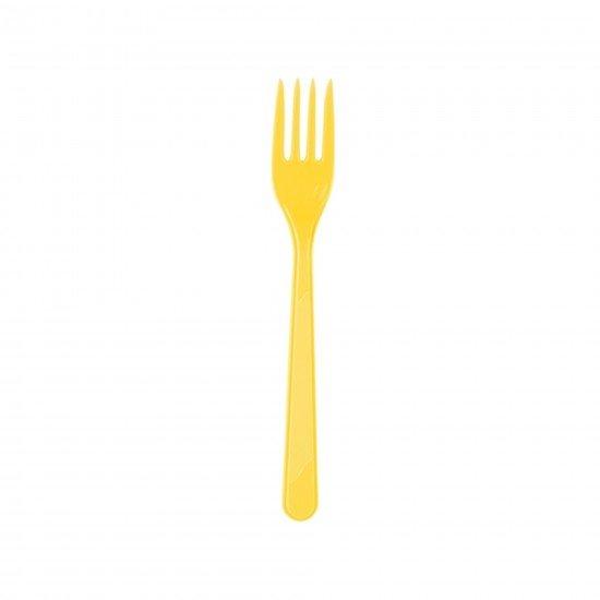 Roll-Up Plastik Çatal Sarı 25li