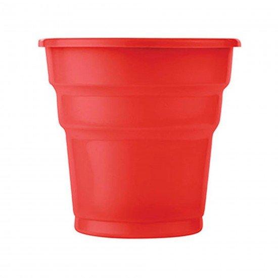 Roll-Up Plastik Meşrubat Bardağı Kırmızı 180cc-7oz 25li