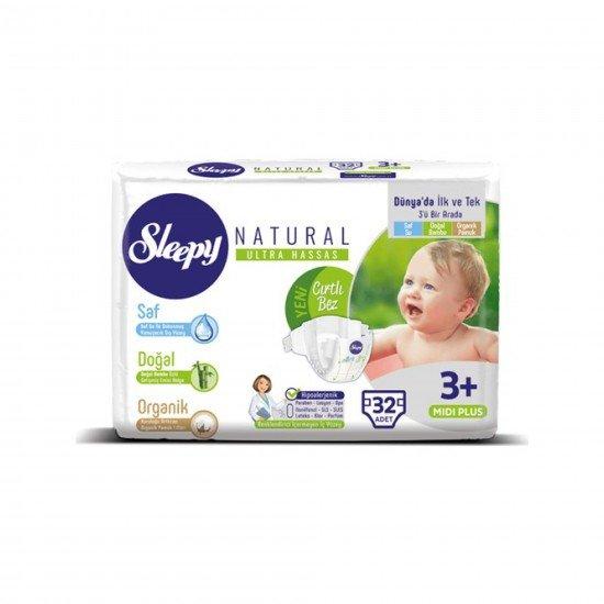 Sleepy Natural Bebek Bezi 3+ Numara Midi Plus Jumbo Paket 32li