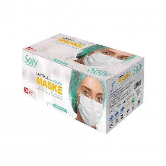Soly Care 3 Katlı Telli Tam Ultrasonik Cerrahi Maske 50 Adet