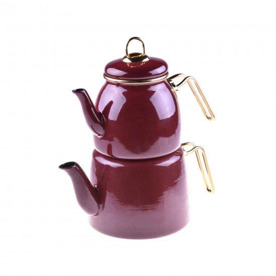 Taşev Miray Emaye Çaydanlık Takımı - Kırmızı