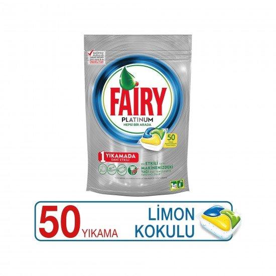 Fairy Platinum Bulaşık Makinesi Deterjanı Kapsülü Limon Kokulu 50 Yıkama