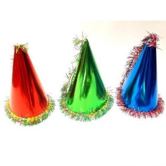 Yılbaşı Simli Karton Şapka Renkli (Renk Belirtiniz)